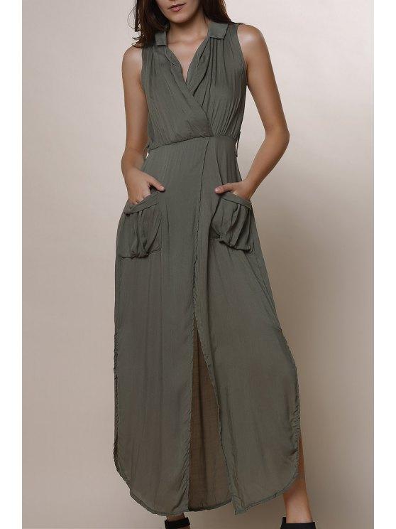 fancy Army Green Sleeveless V Neck Split Dress - ARMY GREEN S