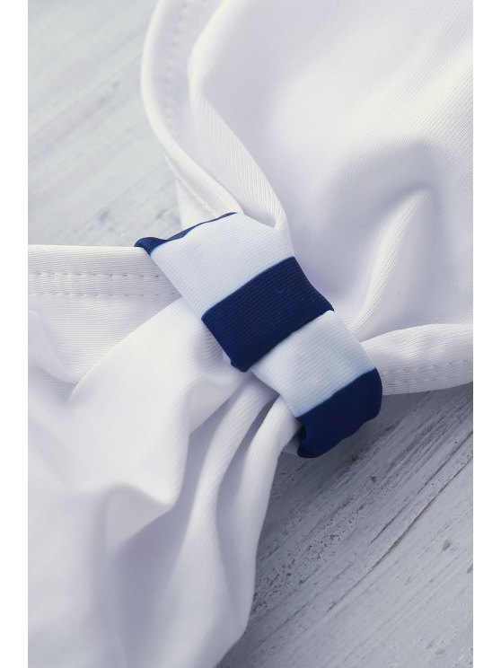 High Waisted Halterneck Stripe Six Buttons Bikini - BLUE S Mobile
