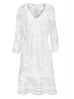 Lace See-Through Long Sleeve Dress - White Xl