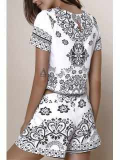 Short Sleeve Crop Top + Porcelain Print Shorts Twinset - Black Xl