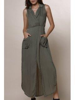 Army Green Sleeveless V Neck Split Dress - Army Green M