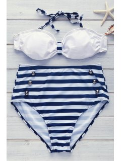 Halter Striped High Waisted 50s Bikini Swimwear - Blue M