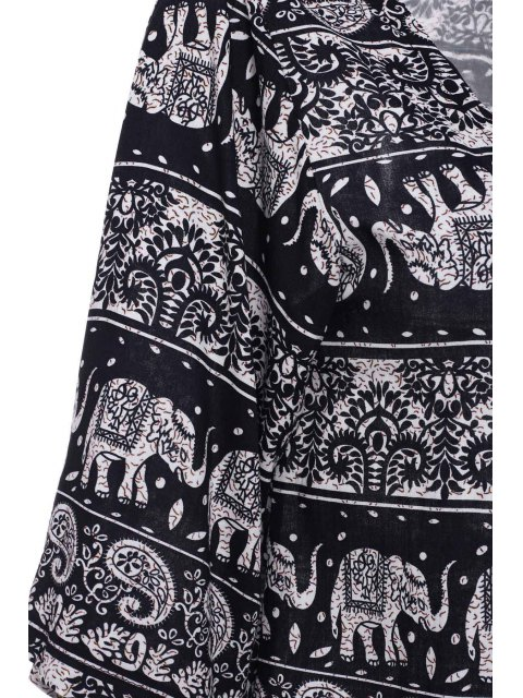colllarless motif ethnique print blouse bleu et blanc kimonos m zaful. Black Bedroom Furniture Sets. Home Design Ideas
