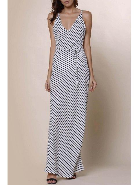 women's Striped Spaghetti Strap Backless Maxi Dress - STRIPE S Mobile