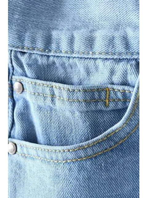 affordable Bleach Wash Distressed Ninth Jeans - LIGHT BLUE L Mobile