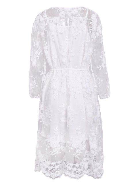 buy Lace See-Through Long Sleeve Dress - WHITE M Mobile