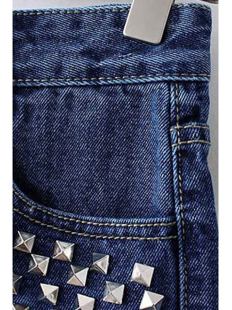 online Rivet Color Block Denim Shorts - BLUE M Mobile