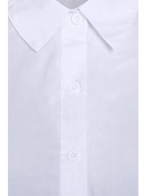 sale Pure Color Turn Down Collar Long Sleeves Shirt - WHITE M Mobile