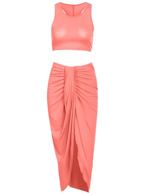 buy Sleeveless Crop Top and Solid Color Skirt Suit - PINK L Mobile