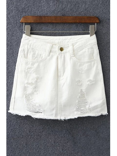 best Denim Ripped Culotte Shorts - WHITE L Mobile