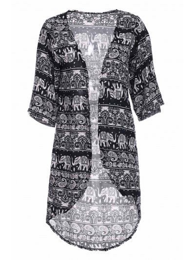 Colllarless Ethnic Pattern Print Blouse - Blue And White