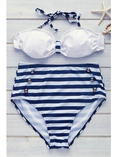 High Waisted Halterneck Stripe Six Buttons Bikini - Blue