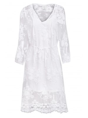 Solid Color Lace See-Through Long Sleeve Dress - White