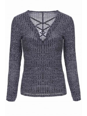 Gray Plunging Neck Long Sleeve Jumper