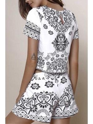 Short Sleeve Crop Top + Porcelain Print Shorts Twinset - Black