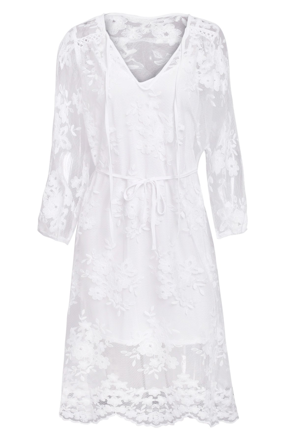 Solid Color Lace See-Through Long Sleeve Dress - WHITE S