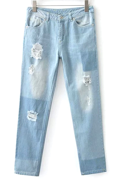 Bleach Wash Broken Hole Boyfriend Jeans