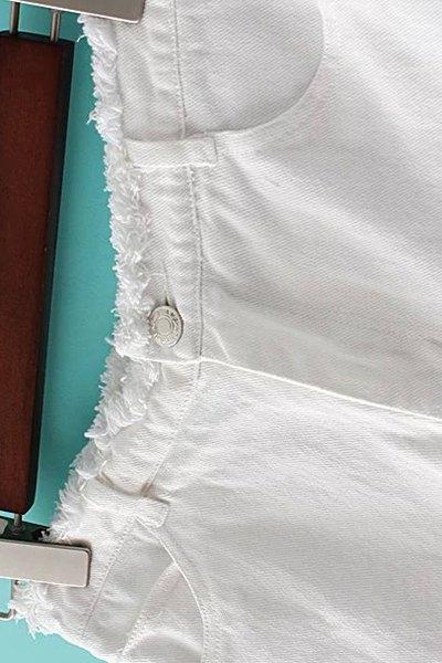 Denim Solid Color Pockets Shorts - BLACK L
