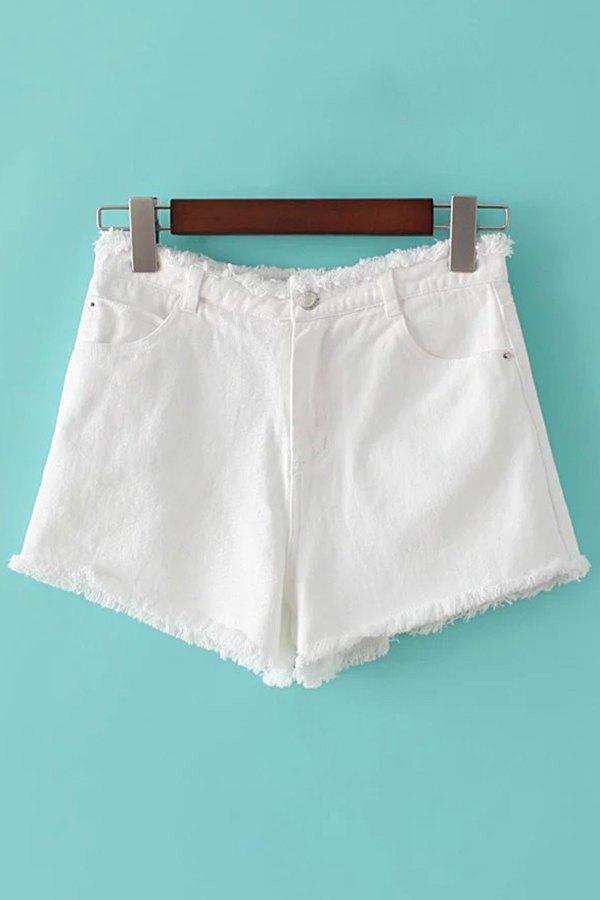 Solid Color Pockets Denim Shorts