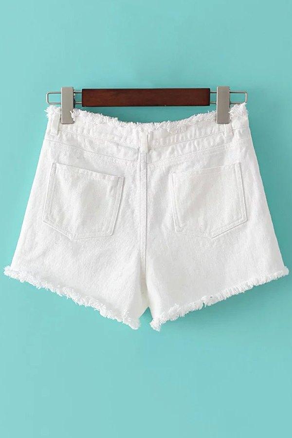 Denim Solid Color Pockets Shorts - WHITE L