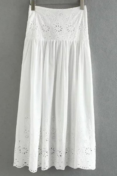 High Waisted Hollow Out High Slit Lace Skirt