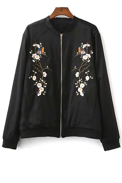 Zip Up Embroidered Baseball Jacket