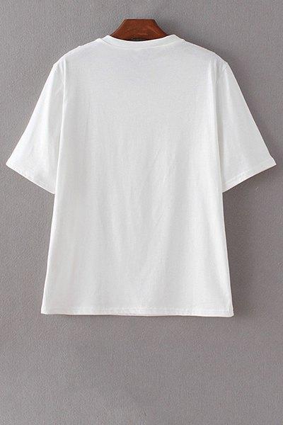 Letter Print Round Neck Short Sleeve Sequins T-Shirt - WHITE M