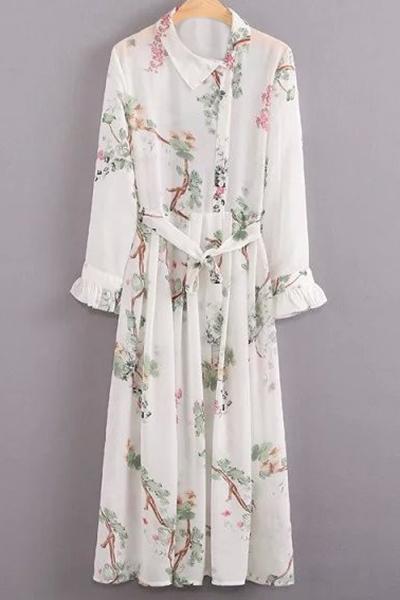 Flroal Print Ruffle Sleeve White Dress