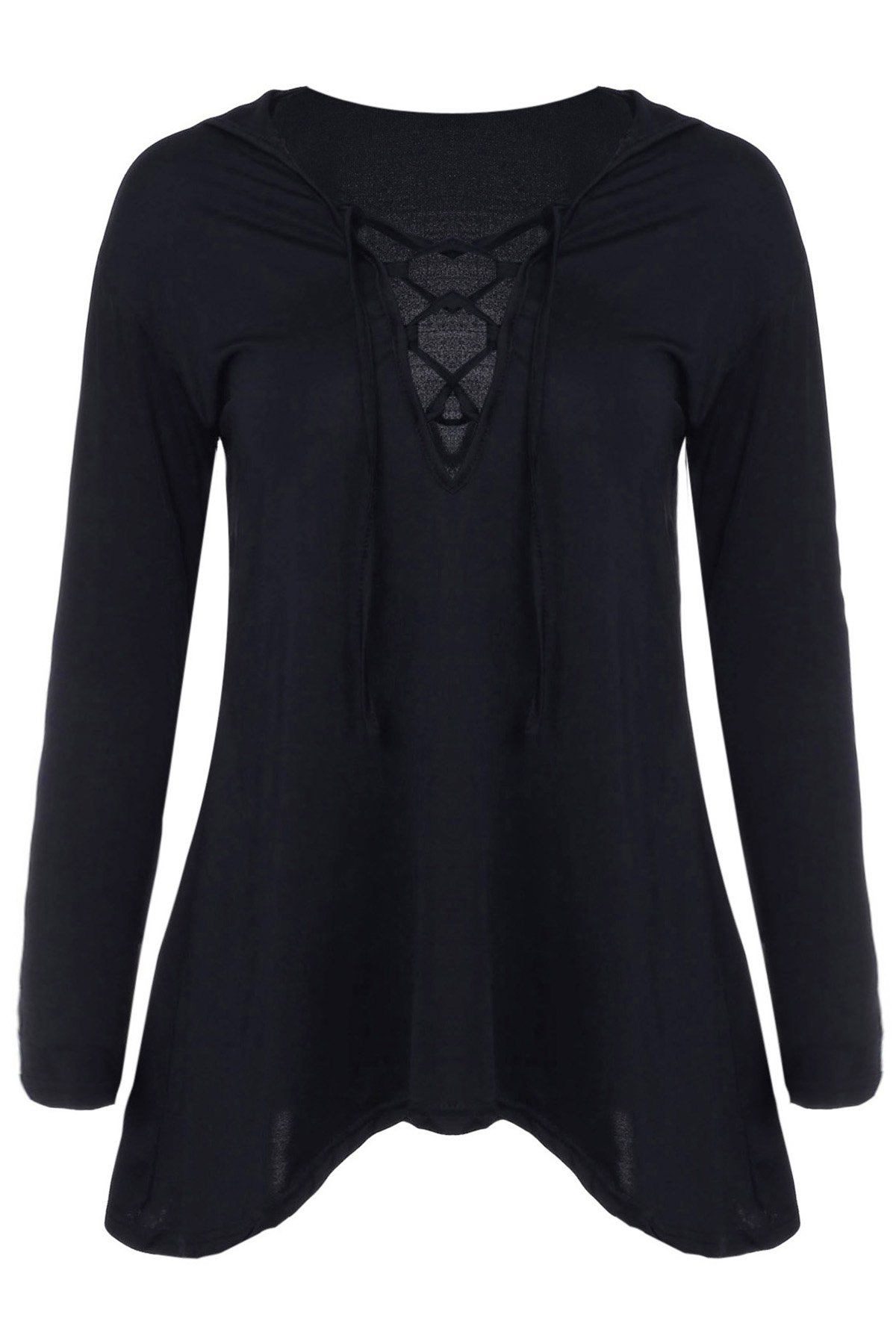 Hooded Irregular Hem Black T-Shirt