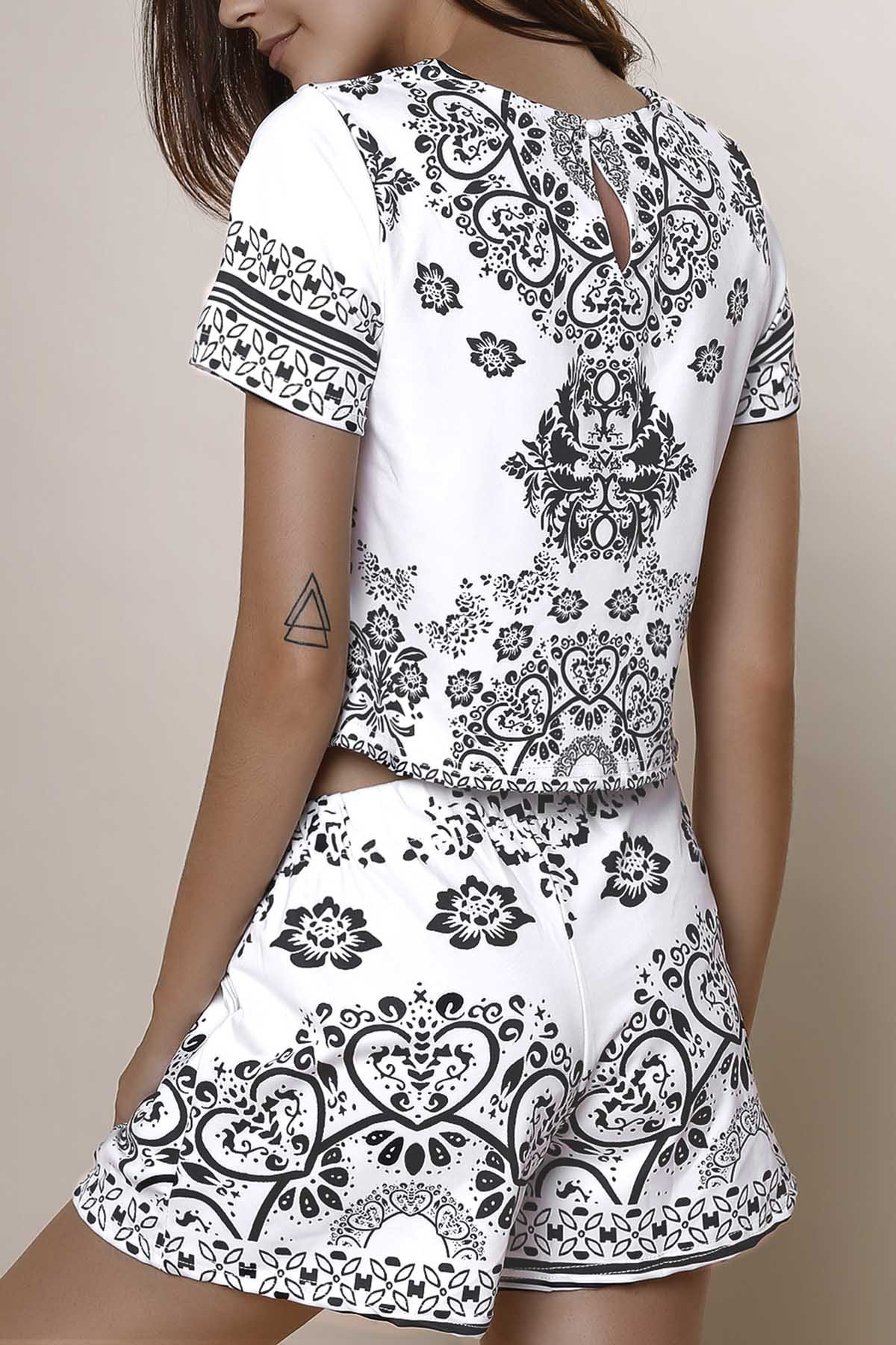 Round Neck Short Sleeve Crop Top + Porcelain Print High-Waisted Shorts Twinset