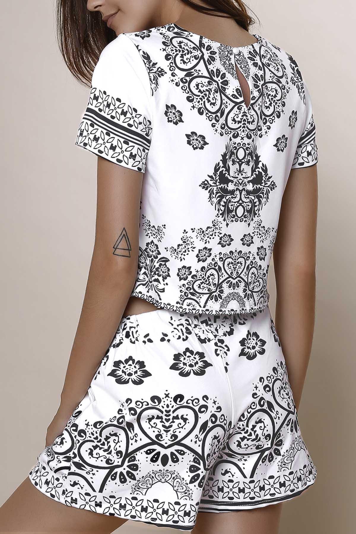 Short Sleeve Crop Top + Porcelain Print Shorts Twinset - BLACK XS