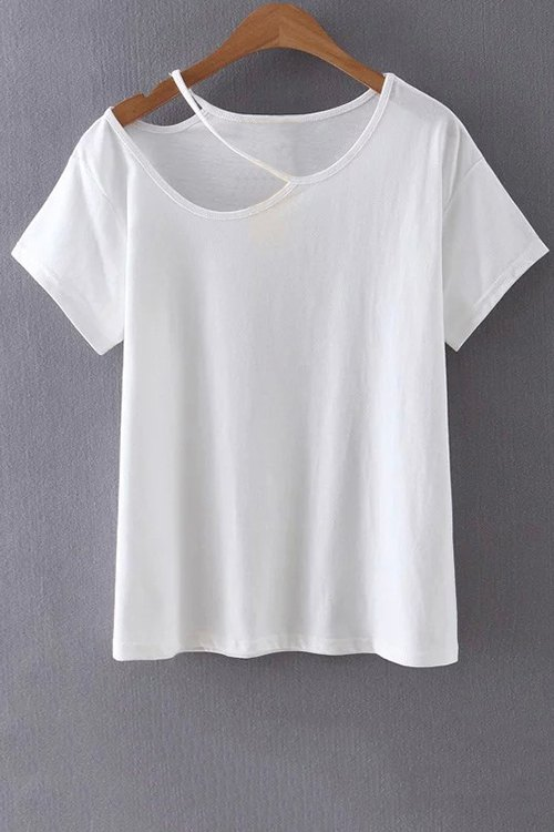 Cut Out Round Collar Short Sleeve T-ShirtClothes<br><br><br>Size: M<br>Color: WHITE