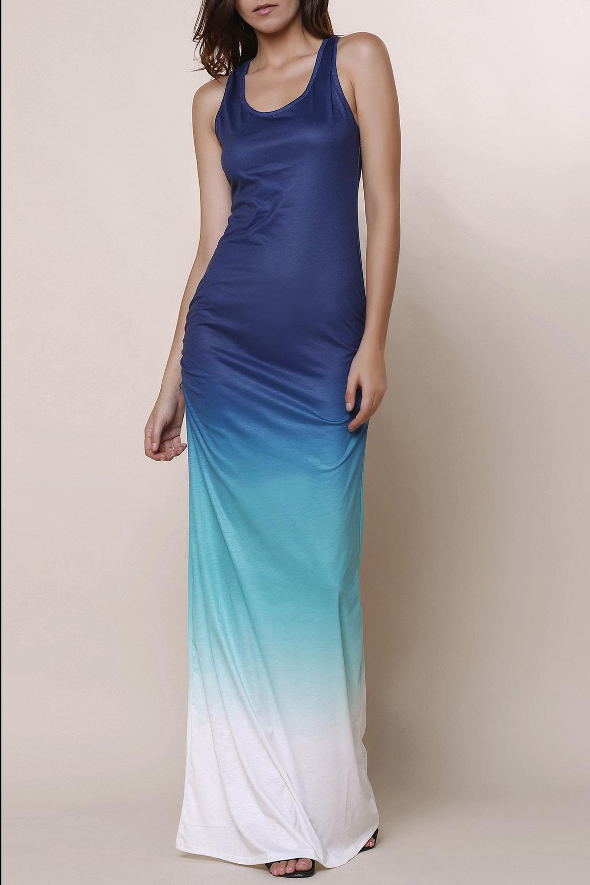 Ombre Color Scoop Neck Maxi Sundress - BLUE S