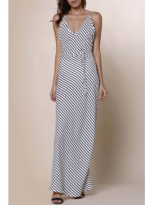 Striped Spaghetti Strap Backless Maxi Dress