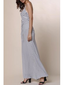 Striped Spaghetti Strap Backless Maxi Dress - STRIPE S
