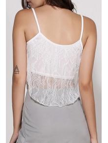 White Lace Spaghetti Strap Crop Top - WHITE S