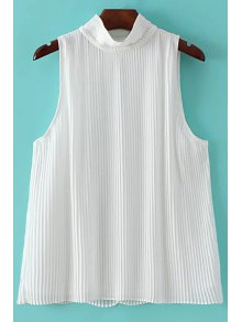 Pleated Stand Collar Sleeveless Chiffon T-Shirt