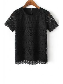 Openwork Round Neck Short Sleeve Lace T-Shirt - Black L
