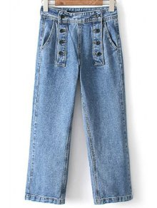 Loose High Waisted Double-Breasted Jeans
