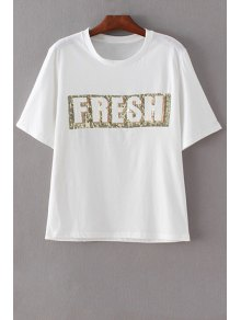 Letter Print Round Neck Short Sleeve Sequins T-Shirt - White L