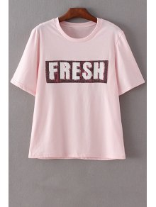 Letter Print Round Neck Short Sleeve Sequins T-Shirt