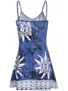 Spaghetti Strap Argyle Sun Print Dress