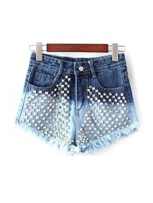 Rivet Color Block Denim Shorts