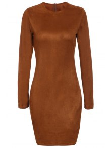 Tan Long Sleeve Bodycon Dress