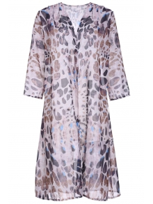 Leopard Print Chiffon Half Sleeves Cover Up