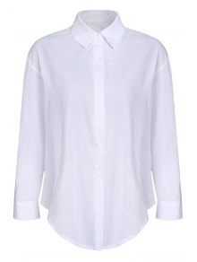 Pure Color Turn Down Collar Long Sleeves Shirt - White S