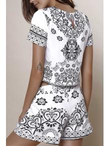 Short Sleeve Crop Top + Porcelain Print Shorts Twinset