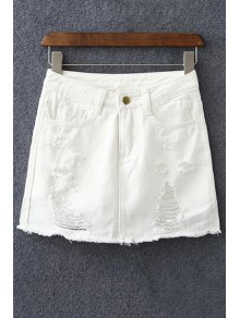 Denim Ripped Culotte Shorts