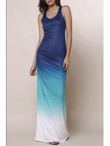 Ombre Color Scoop Neck Maxi Sundress