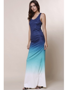 Ombre Color Scoop Neck Maxi Sundress